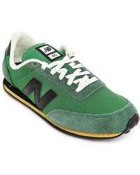 New Balance 410 Green Suede And Mesh Sneakers - Lyst
