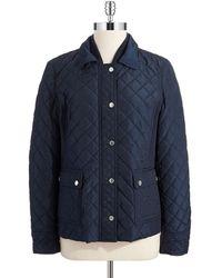 Jones New York Quilted Zipper Jacket - Lyst