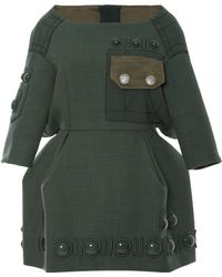 Marc Jacobs Green Boatneck Dress with Pave Button Details - Lyst