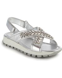 Prada | Crystal-embellished Metallic Leather Sandals | Lyst