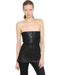 Rick Owens Stretch Nappa Leather Bustier Top - Lyst