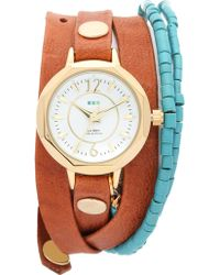 La Mer Collections - New Mexico Wrap Watch - Gold/brown/turquoise - Lyst