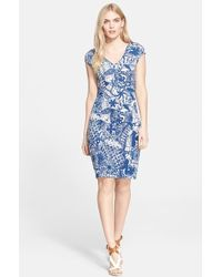 Tory Burch Print V-Neck Sheath Dress - Lyst