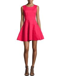 Halston Heritage Sleeveless Ponte Fit-And-Flare Dress - Lyst