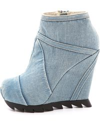 Camilla Skovgaard | Seams Denim Wedge Booties | Lyst