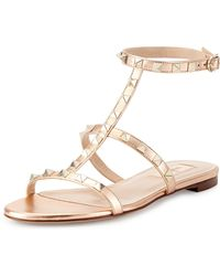 Valentino Rockstud Ankle-strap Flat Sandal - Lyst