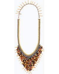 Zara Chains And Colored Stones Necklace gold - Lyst