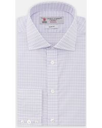 Turnbull & Asser | Exclusive Slim Fit Lilac And Blue Check Cotton Shirt With Regent Collar | Lyst