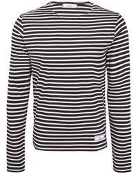 AMI Navy Breton Stripe Cotton Top - Lyst