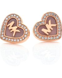 Michael Kors | Logo Heartpavé Stud Earrings | Lyst