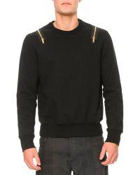 Alexander McQueen Goldenzipper Detail Jersey Sweatshirt - Lyst