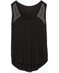 Zara T-Shirt With Faux Leather Detail - Lyst