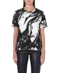 Maje Abstract Print Tshirt Blanc - Lyst