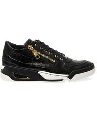 Versace Embossed Leather Trainers - Lyst