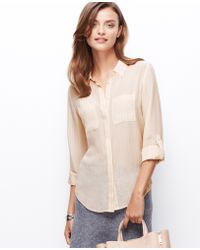 Ann Taylor Striped Silk Camp Shirt - Lyst
