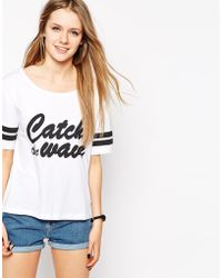 A Question Of - Catch The Wave Boxy T-Shirt With Stripe Sleeve - Lyst