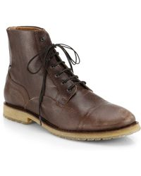 Diesel Pure Leather High-top Lace-up Boots - Lyst