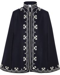Vilshenko - - Ruby Embroidered Wool Cape - Navy - Lyst