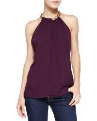 Diane Von Furstenberg Chain-neck Halter Top Purple  - Lyst
