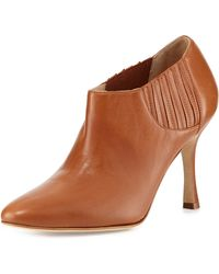 Manolo Blahnik Livrea Leather Stretch Bootie - Lyst