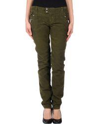 D&G Green Casual Pants - Lyst