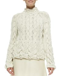 The Row Chunky Cable-Knit Sweater - Lyst