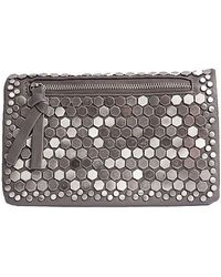 Bungalow 20 - Jackie Brushed Metal Hexagon Crossbody In Charcoal - Lyst