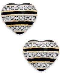 Juicy Couture | Goldtone Black Stripe and Pave Heart Stud Earrings | Lyst