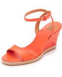 Tory Burch - Marion Quilted Wedge Sandals - Lyst