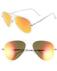 Ray-Ban Women'S 'Tech Light-Ray' 56Mm Aviator Sunglasses - Silver/ Brown Mirror/ Orange - Lyst