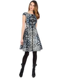 Kay Unger Abstract Print Aline Dress - Lyst