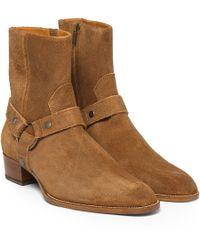 Saint Laurent Suede Harness Boots - Lyst