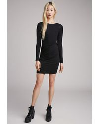 Forever 21 Bodycon Faux Wrap Dress - Lyst