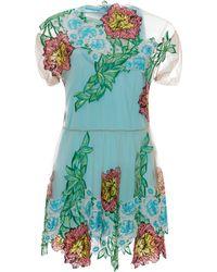 Blumarine Dahlia Embroidered Short Tulle Dress - Lyst