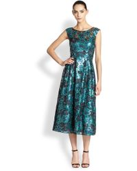 Kay Unger Floral Sequined Dress - Lyst