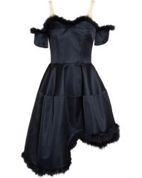 Simone Rocha Satin Dress With Feather Embellishment - Lyst