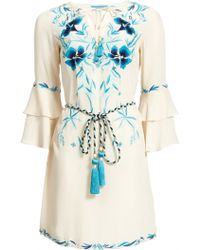 Matthew Williamson Tropical Flower Embroidered Silk Dress - Lyst