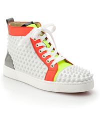 Christian Louboutin Louis Woman Studded Colorblock Leather Sneakers white - Lyst