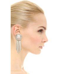 Sam Edelman - Fringe Disc Earrings - Rhodium - Lyst