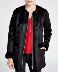 The Kooples Coat - Faux Shearling Zip Front - Lyst