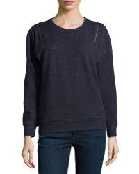 J Brand Fleece Zip Shoulder Sweatshirt - Lyst