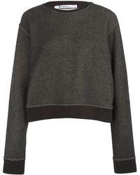 T By Alexander Wang Grey Contrast Cuff Sweatshirt - Lyst