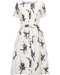 Carolina Herrera Embroidered Daisy Shirt Dress - Lyst