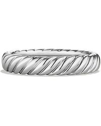 David Yurman Cable Band Ring In Platinum - Lyst