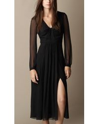 Burberry Silk Crépon Dress - Lyst