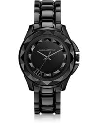 Karl Lagerfeld 435 Mm Black Ion-plated Stainless Steel Unisex Watch - Lyst
