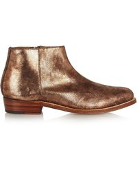 Foot The Coacher - Becky Metallic Lizard-effect Leather Ankle Boots - Lyst