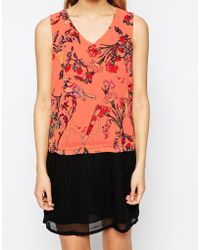 Colorblock Color Block Bird Print Shift Dress - Lyst