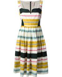 Antonio Marras Pleated Stripe Dress - Lyst