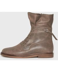 MM6 by Maison Martin Margiela Combat Flat Boot brown - Lyst